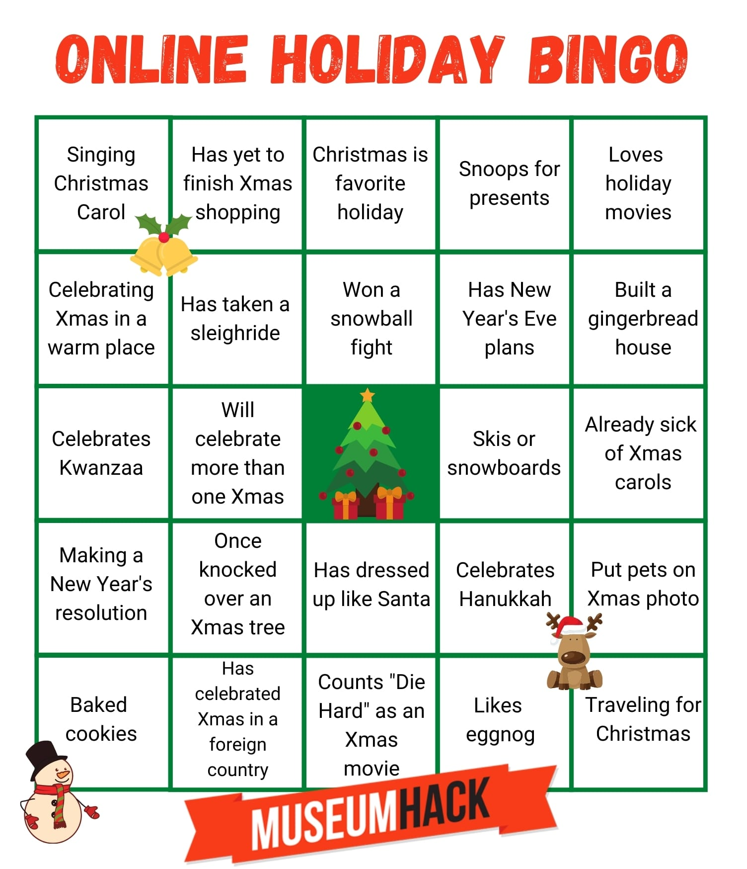 online holiday bingo template